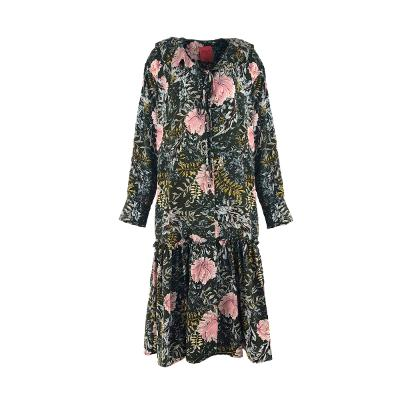 flower pattern shirring dress